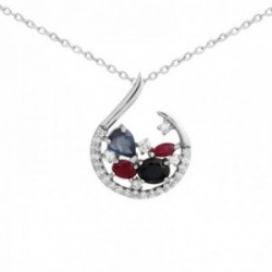 Collar Oro Blanco 18k modelo Cachemira (25 diamantes 0,20 cts.)
