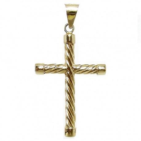 Cruz crucifijo oro 18k redonda maciza retorcida chatones [5371]