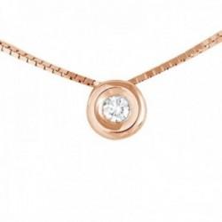 Colgante con Cadena Oro Rosa 18k modelo Tu Diamante (1 Diamante 2mm. 0,04 cts.) Colgante: 4,65mm.