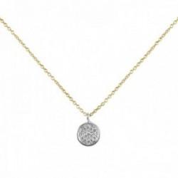 Collar Oro Amarillo y Blanco 18k modelo Circles (pavé diamantes 0,057cts.). Medida colgante 7,00mm.