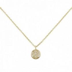 Collar Oro Amarillo 18k modelo Circles (pavé diamantes 0,057cts.). Medida colgante 7,00mm.