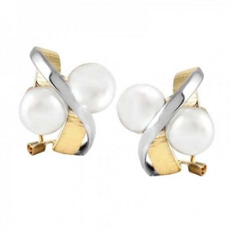 Pendientes Oro Amarillo y blanco 18k modelo Sofía (4 perlas cultivadas botón blancas 7,5mm.)