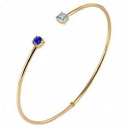 Pulsera Oro Amarillo 18k modelo Bracelets (1 zafiro reconstituido 1 topacio azul reconstituido 4mm.)