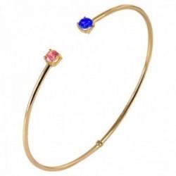 Pulsera Oro Amarillo 18k modelo Bracelets (1 zafiro reconstituido 1 reconstituida rosa 4mm.)