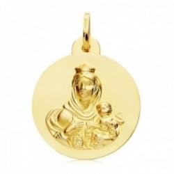 Medalla oro 18k escapulario 26mm. liso Virgen del Carmen Corazón de Jesús