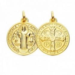 Medalla oro 18k escapulario 20mm. San Benito redondo trasera cruz