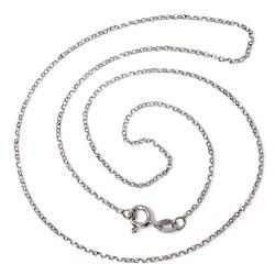 Cadena plata Ley 925m 45cm. modelo rolo rodiada diamantada cierre reasa