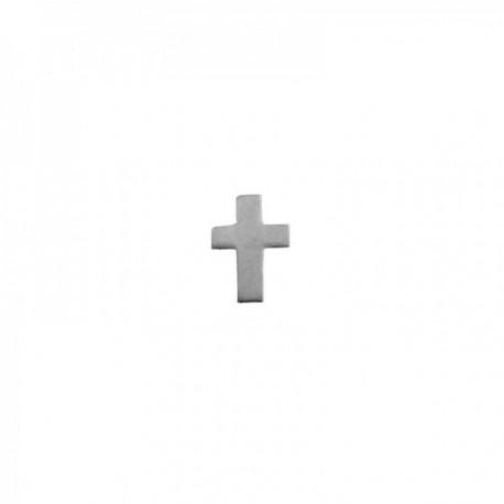 Pendiente mini suelto plata Ley 925m cruz 6mm. medio par cierre presión mujer