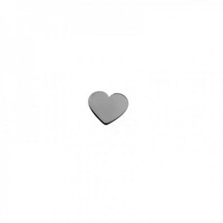 Pendiente mini suelto plata Ley 925m corazón 5mm. medio par cierre presión mujer