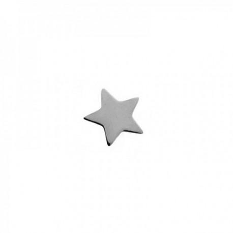 Pendiente mini suelto plata Ley 925m estrella 5mm. medio par cierre presión mujer