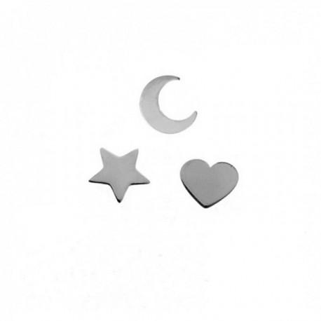 Pendientes mini plata Ley 925m pack x3 estrella corazón media luna cierre presión mujer