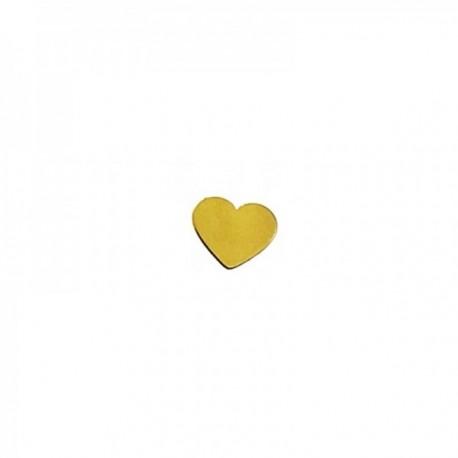 Pendiente mini suelto plata Ley 925m chapada oro corazón 5mm. medio par cierre presión mujer