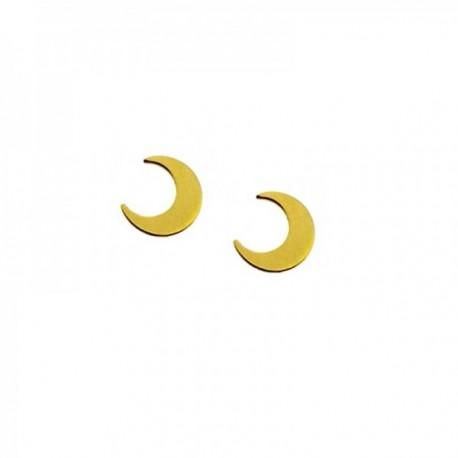 Pendientes mini plata Ley 925m chapada oro par media luna 5mm. cierre presión mujer