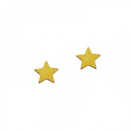 Pendientes mini plata Ley 925m chapada oro par estrella 5mm. cierre presión mujer