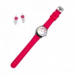 Juego Agatha Ruiz de la Prada reloj AGR256 rosa niña pendientes plata Ley 925m aros esmalte