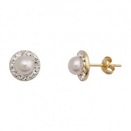 Pendientes oro 18k redondo perla cultivada botón 5,5mm. [5469]