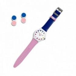 Juego Agatha Ruiz de la Prada reloj AGR244 rosa azul pendientes plata Ley 925m esmaltados