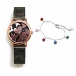 Juego Agatha Ruiz de la Prada reloj AGR252 verde acero pulsera plata Ley 925m discos colores esmalte