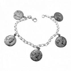 Pulsera plata Ley 925m cadena rolo lisa charm monedas colgando estilo antiguas cierre mosquetón