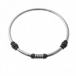 Brazalete plata Ley 925m diámetro 55mm. liso motivos entrepiezas oxidadas
