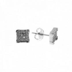 Pendientes plata Ley 925m cuadrados 6mm. centro circonitas microengaste cierre presión