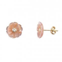 Pendientes oro 18k flor nácar rosa garras circonita 2,5mm. [5476]