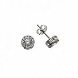 Pendientes plata Ley 925m redondos 7mm. centro circonitas microengaste cierre presión