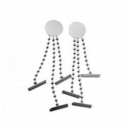 Pendientes plata Ley 925m largos 40mm.cadena bolas desmontable centro disco liso cierre presión