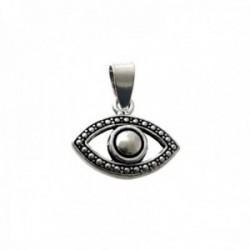 Colgante plata Ley 925m forma ojo 20mm. oxidado liso calado