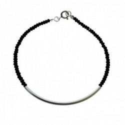 Pulsera plata Ley 925m bolas piedras negras centro tubo liso cierre reasa
