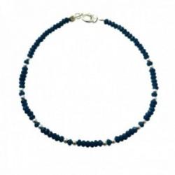 Pulsera plata Ley 925m bolas plateadas piedras color azul alternadas cierre reasa