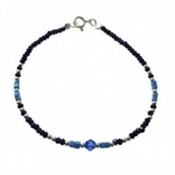 Pulsera plata Ley 925m bolas plateadas piedras azules negras alternadas cierre reasa