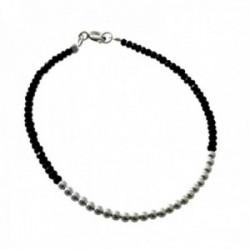 Pulsera plata Ley 925m bolas plateadas centro piedras negras cierre reasa