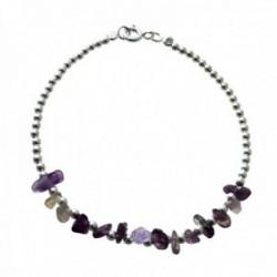 Pulsera plata Ley 925m bolas plateadas alternas piedras naturales tonos morados claros cierre reasa