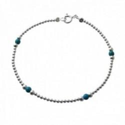 Pulsera plata Ley 925m bolas plateadas alternadas piedras azules cierre reasa