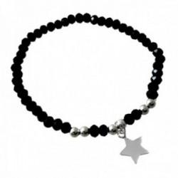 Pulsera plata Ley 925m centro estrella bolas plateadas piedras negras alternadas cierre reasa