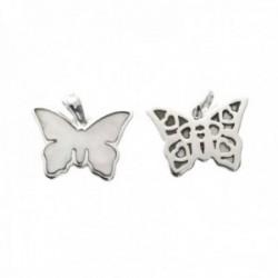 Colgante plata Ley 925m mariposa 17mm. centro nácar blanco trasera formas