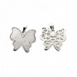 Colgante plata Ley 925m mariposa 15mm. centro nácar blanco trasera formas