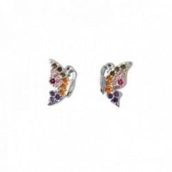 Pendientes plata Ley 925m mariposas 9mm. piedras microengastadas multicolor cierre presión