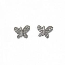 Pendientes plata Ley 925m rodiados 9mm. mariposas circonitas microengastadas cierre presión