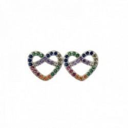 Pendientes plata Ley 925m corazones 10mm. piedras multicolores microengastadas cierre presión