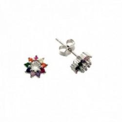 Pendientes plata Ley 925m forma estrella 7mm. piedras microengastadas colores cierre presión