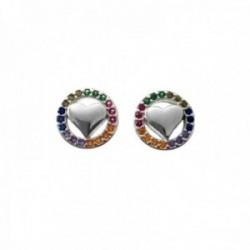 Pendientes plata Ley 925m corazones lisos cerco piedras colores microengastadas 9mm. cierre presión