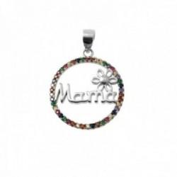 Colgante plata Ley 925m rodiado 17mm. palabra MAMÁ flor cerco piedras circonitas colores