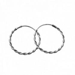 Pendientes plata Ley 925m aros 25mm. lisos efecto reliado