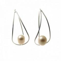 Pendientes plata Ley 925m largos 32mm. forma gota perla cultivada
