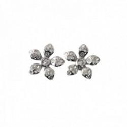 Pendientes plata Ley 925m rodiados flor 12mm. detalle circonitas cierre presión
