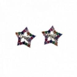 Pendientes plata Ley 925m estrella 10mm. cerco piedras microengastadas colores centro LOVE calados