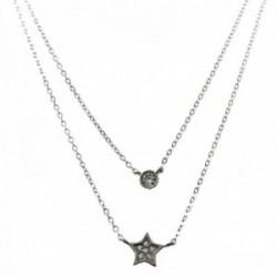 Gargantilla plata Ley 925m doble cadena 45cm. motivo estrella circonitas cadena 41cm. chatón
