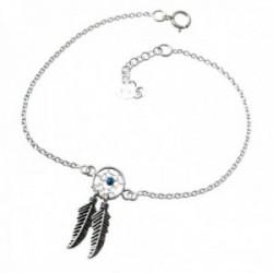 Pulsera plata Ley 925m cadena 17.5cm. motivo atrapasueños centro piedra azul cierre reasa